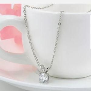 New Silver RHINESTONE round white crystal necklace